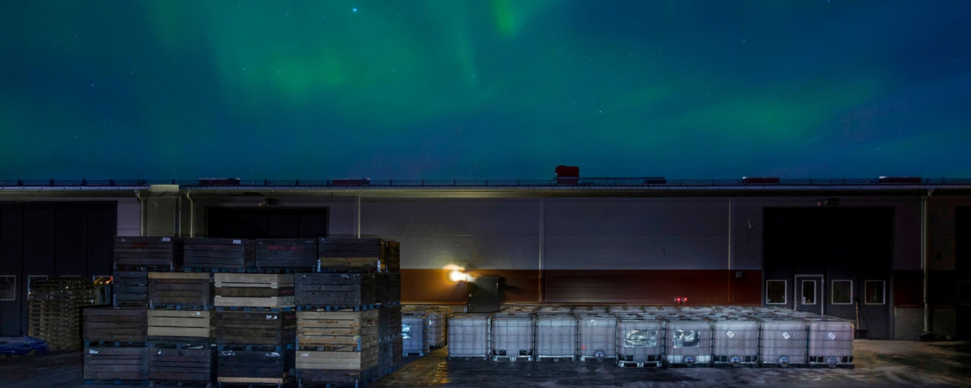 Northern Lights over Brannland Cidery in Sweden
