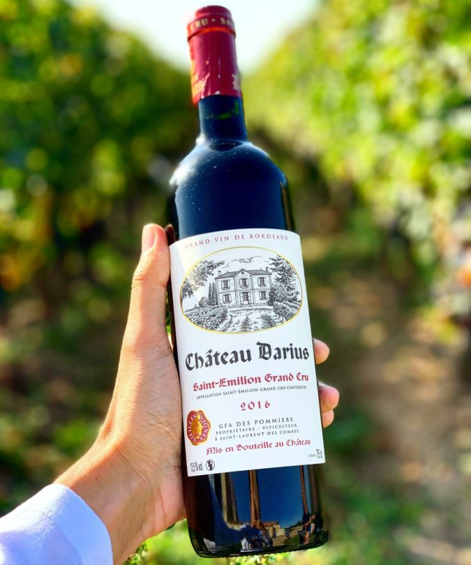 A bottle of red from Chateau Darius in St Emilion