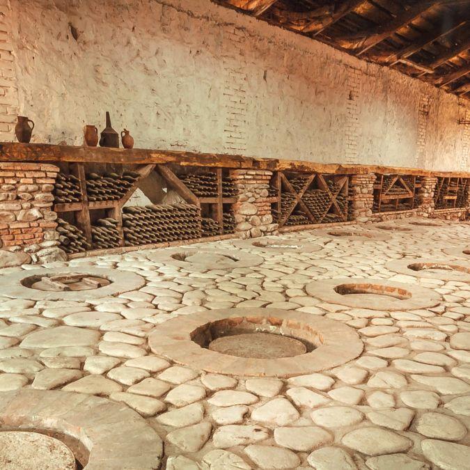 Wine cellar with qvevri in Georgia