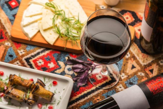 Glass of red Georgian wine for dinner