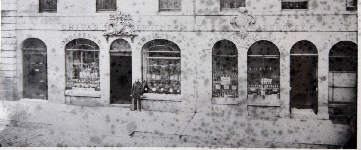 Chivas Regal store front in black and white