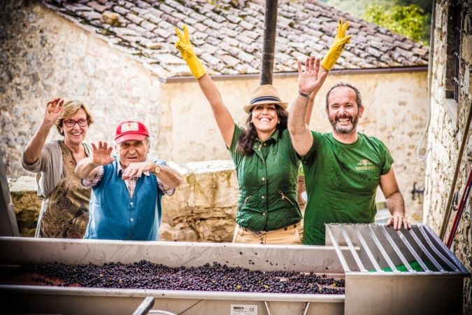 The team at Monteraponi vineyard in Tuscany