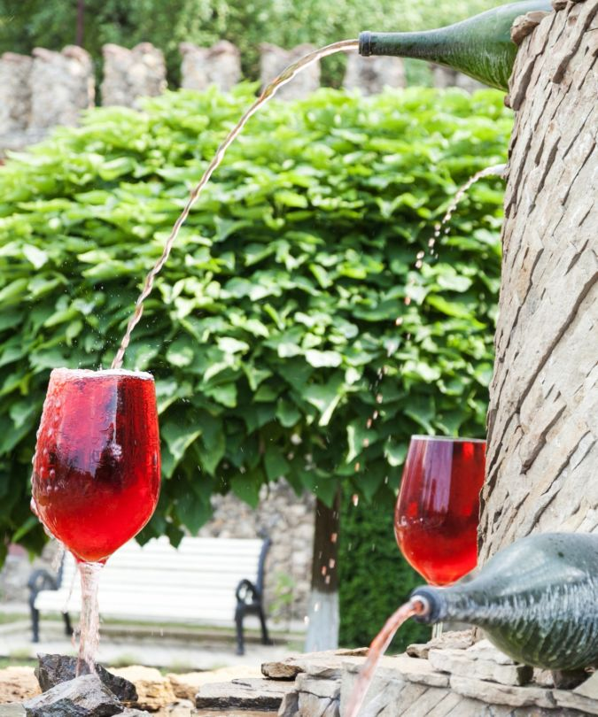 wine fountain at millesti mici winery in Moldova