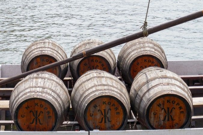 Kopke port pipes on a boat of the river Douro