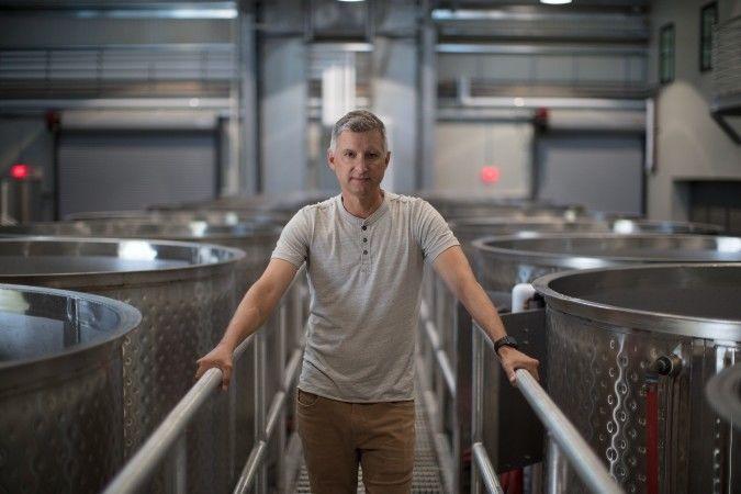 Matt Courtney in the Ferren winery