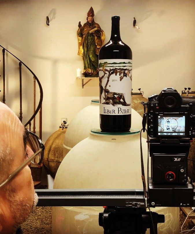Liber Pater wine bottle being photographed