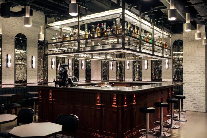 Interior shot, empty, of Frank's bar under Maison François, Duke Street, London SW1