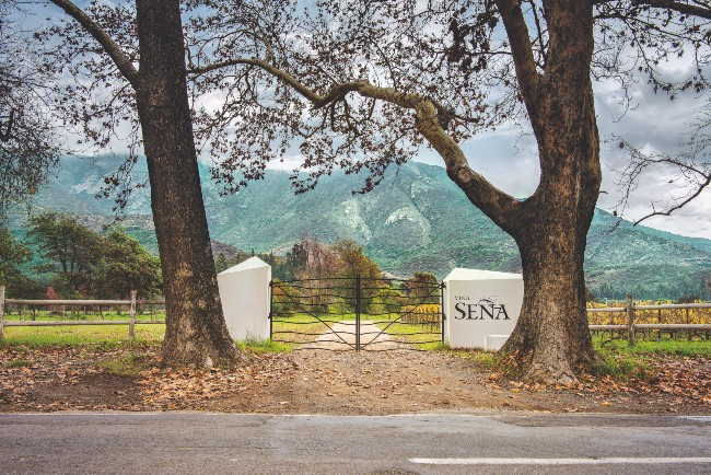 Seña Vineyard gate and sign, Chile
