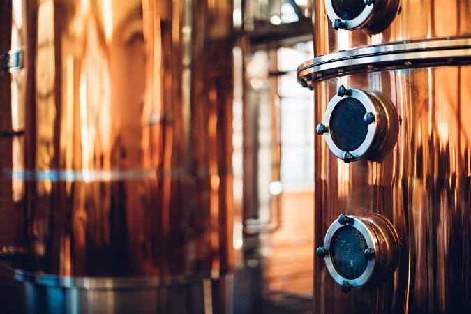 vodka distillery copper column stills
