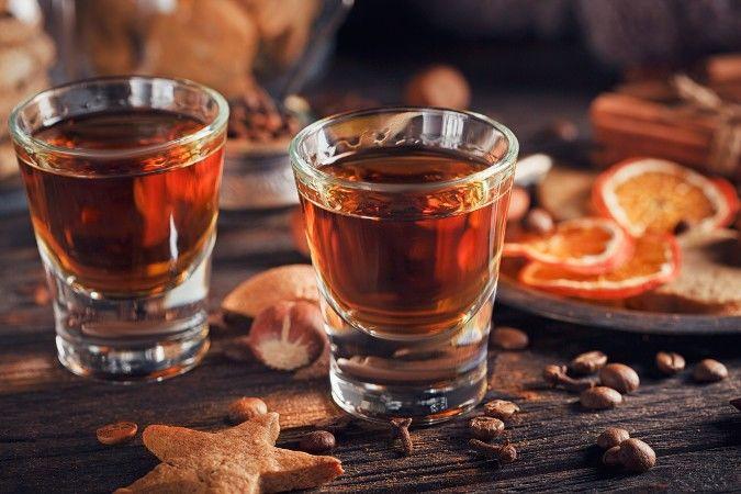 orange liqueur in shot glasses