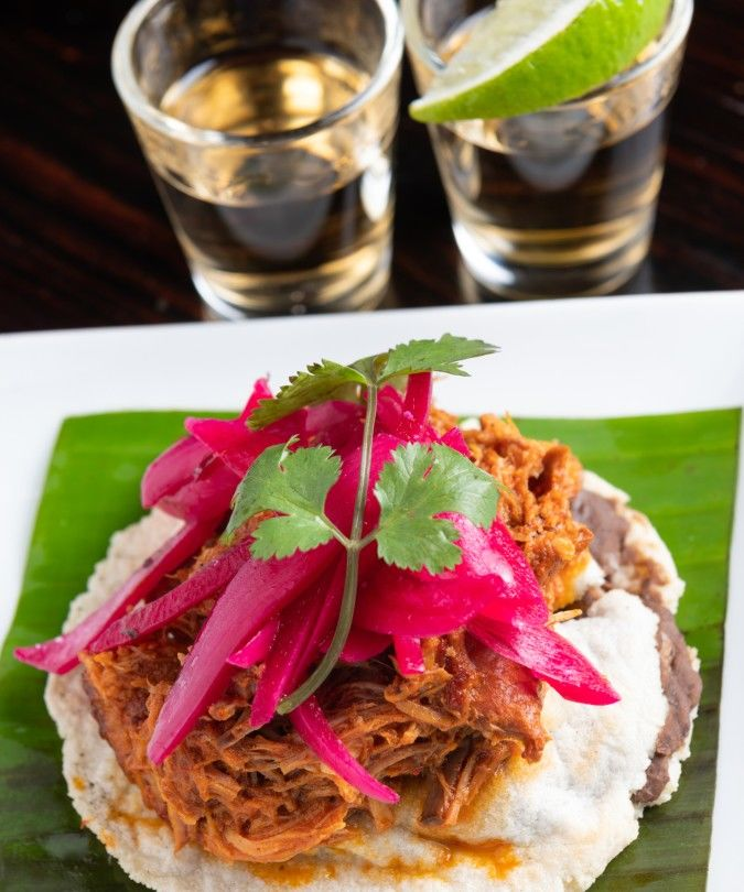 Tequila and pulled pork tacos