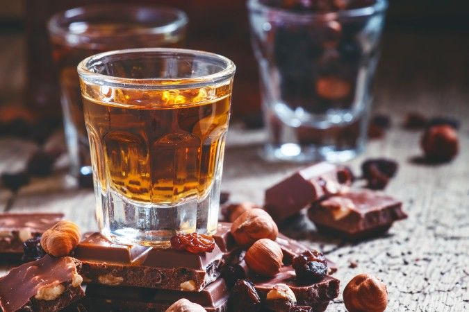 Glass of rum and chocolate